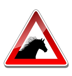 A warning sign horse vector