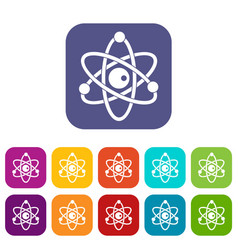 atomic model icons set flat vector image