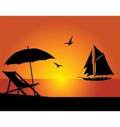 Beach and yacht vector