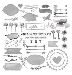 Big watercolor vintage set vector
