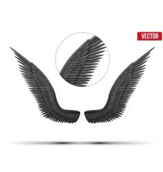 Black open angel wings vector image