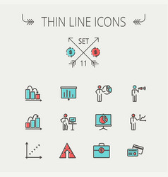 business thin line icon vector image vector image