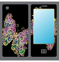 Design for a mobile phone with butterfly vector