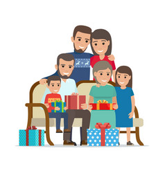 Family gathered together holding present boxes vector