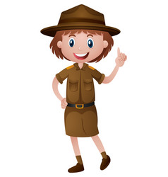 female park ranger in brown uniform vector image vector image