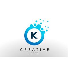 K letter logo blue dots bubble design vector