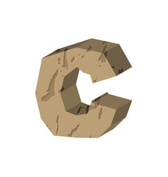 letter c stone font rock alphabet symbol stones vector image