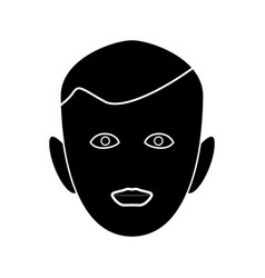 little boy face black color icon vector image vector image