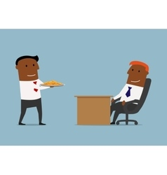 Manager brings gold coins to his boss vector image vector image