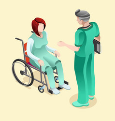 medical doctor talking with patient isometric vector image