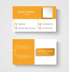 Modern sample orange business card template vector image vector image