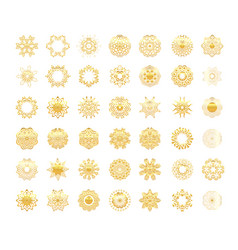 Ornamental gold symbols set vector
