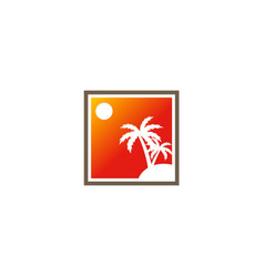 palm tree tropic abstract logo vector image
