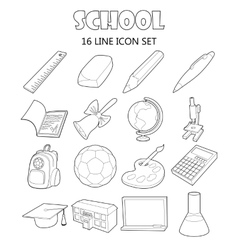 School icons set outline style vector image vector image