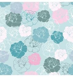 Seamless floral blue pattern rose background vector image