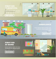 Set of first aid horizontal banners in flat vector