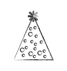 Sketch draw party hat cartoon vector