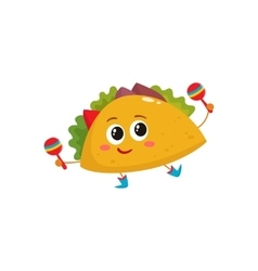 Smiling big eyed burrito dancing and playing vector image vector image