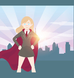 superhero business woman cartoon with graph vector image