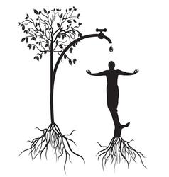 watering tree man vector image vector image