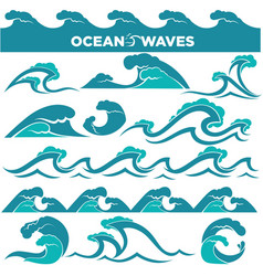 waves icons of water tidal gale blue ocean wave vector image