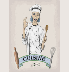 Woman caucasian young cook chef worker in chefs vector
