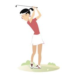Women is playing golf vector