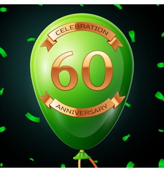 Green balloon with golden inscription sixty years vector image