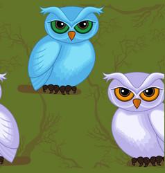 Seamless artwork pattern with cartoon owls vector