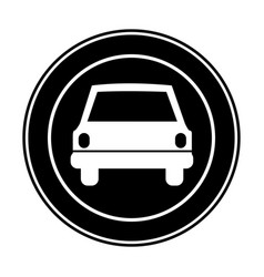 Monochrome circular frame with automobile in front vector