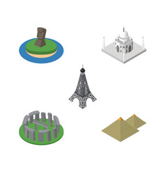 Isometric attraction set of india mosque england vector