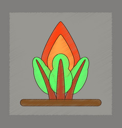Flat shading style icon fire in the forest vector
