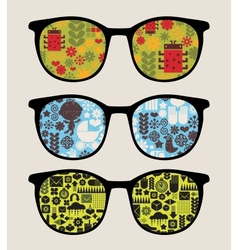 Retro sunglasses with abstract nature reflection vector