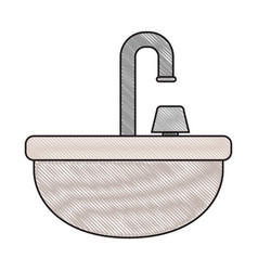 Colored crayon silhouette of washbasin icon vector