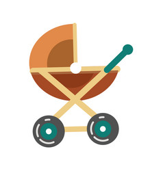 Baby transport pram in brown color stroller icon vector
