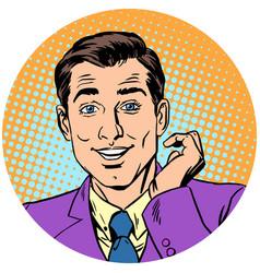 cute handsome man round avatar icon symbol vector image