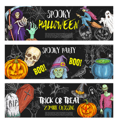 Halloween night party sketch banners vector
