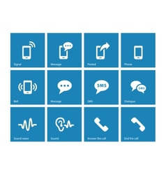 Phone icons on blue background vector