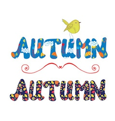 Autumn label for sale or card with floral pattern vector
