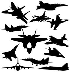 Military jet-fighter silhouettes vector
