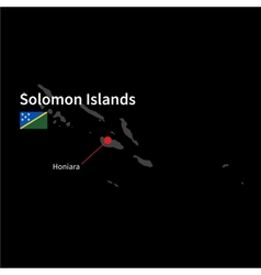 Detailed map of solomon islands and capital city vector