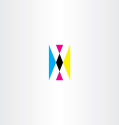Cmyk printing letter x logo icon vector