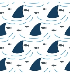 Shark fin in water waves seamless pattern vector