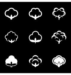 white cotton icon set vector image