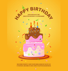 Background with birthday cake and candles vector