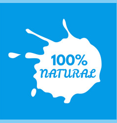 badge milk splash and blot isolate on background vector image vector image