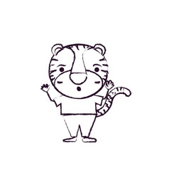 Blurred silhouette caricature of cute tiger vector