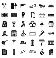 Building hammer icons set simple style vector