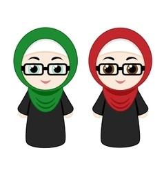 Cartoon girls with hijab vector