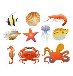 cartoon sea fauna elements set vector image